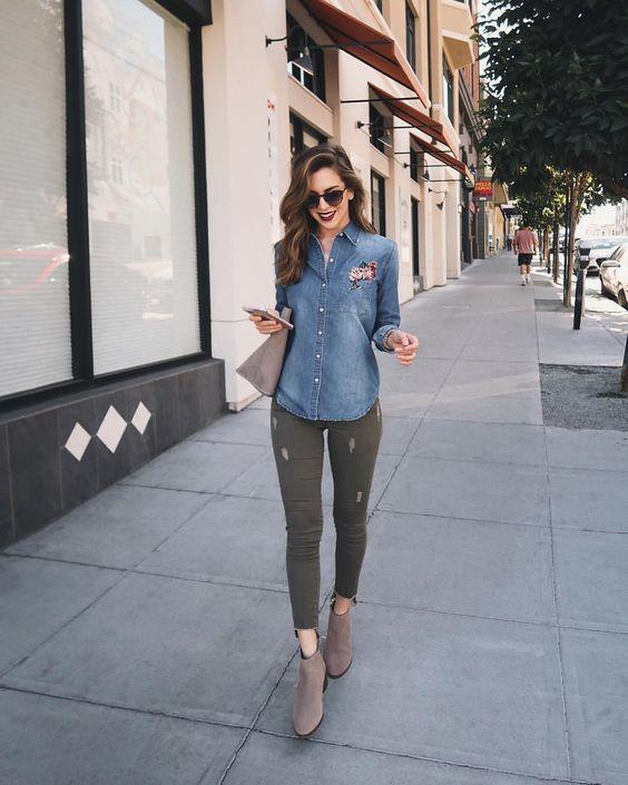 outfit con pantalon verde militar