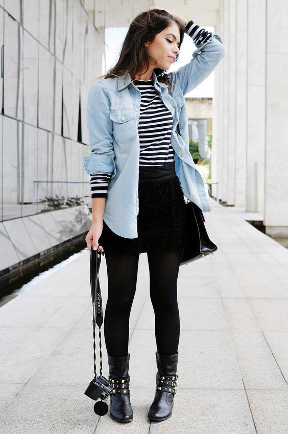outfit de camisa vaquera y falda