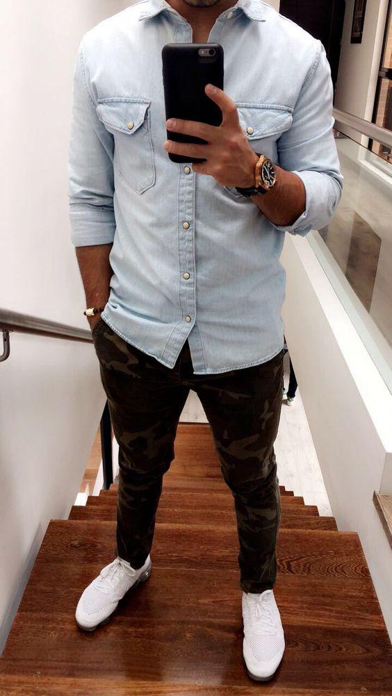 outfit de jean y camuflaje