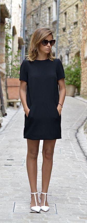 outfit de oficina con vestid negro