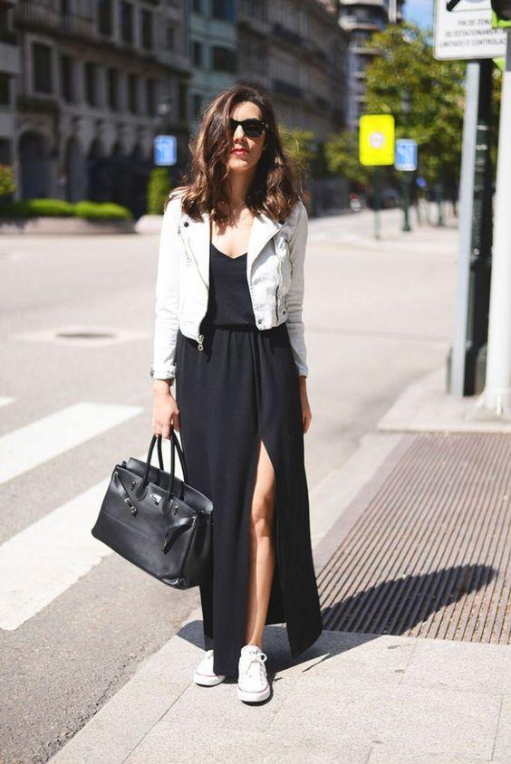 outfit de vestido largo negro