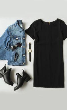 outfit de vestido negro casual