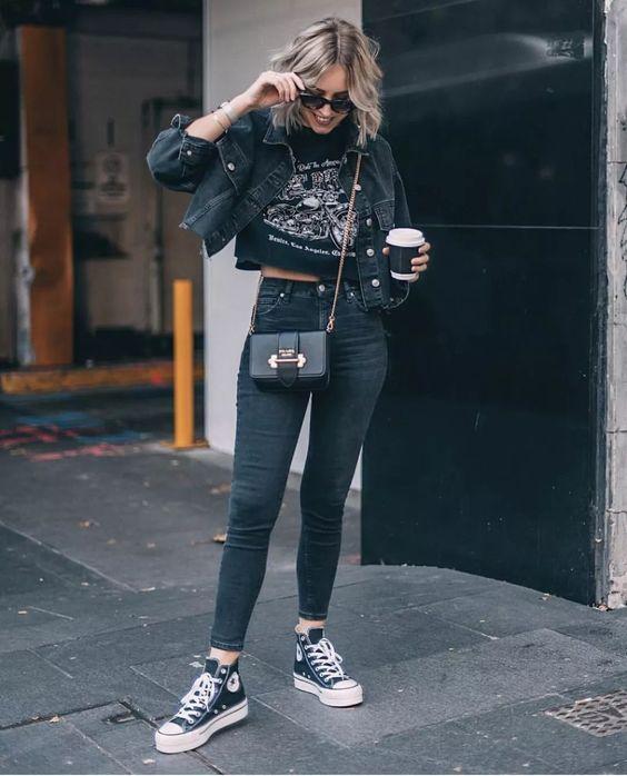 outfit negro con converse