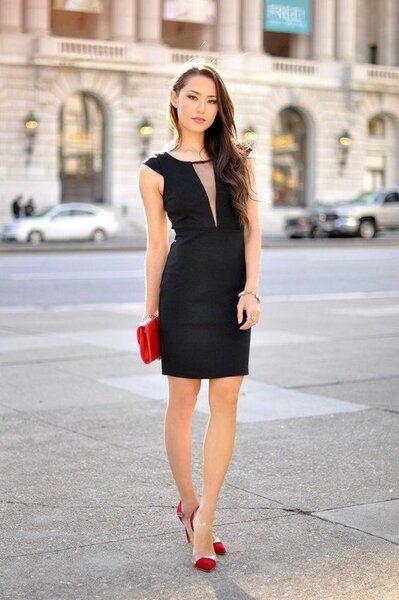 outfit negro con rojo