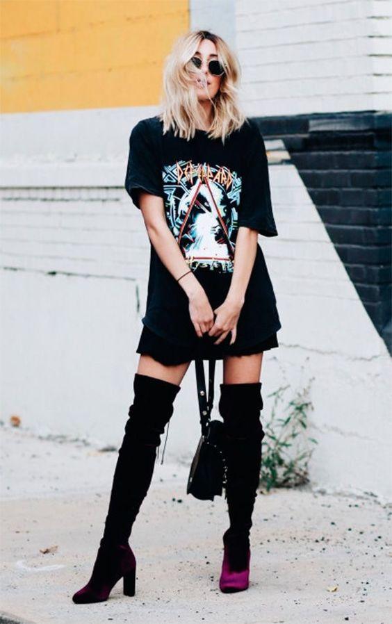 outfit rockero con botas