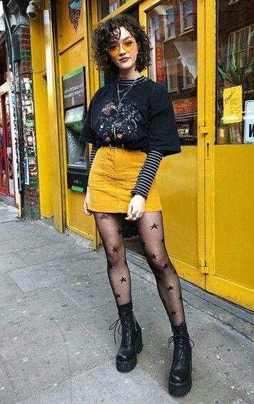 outfit rockero con falda